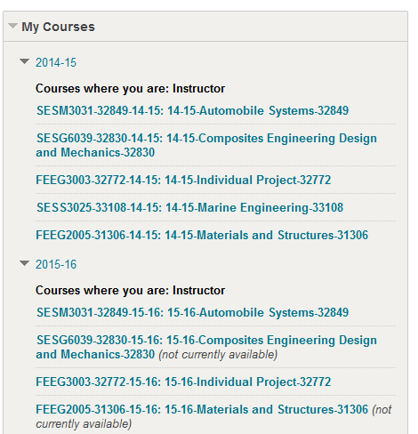 Example My Courses box