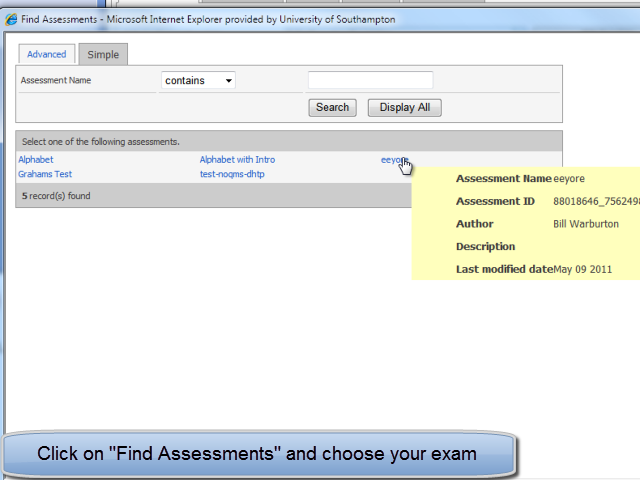 Find assessments