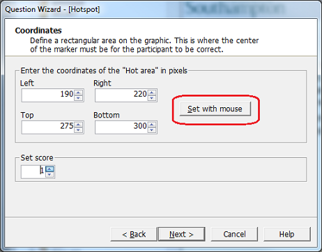 Defining a correct answer in a Hotspot item