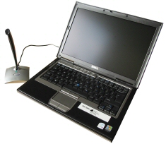 iSolutions laptop and microphone