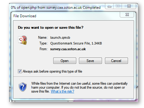 Open or save internet explorer window