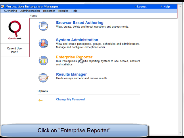 Click on Enterprise Reporter