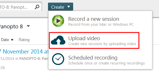 From the create button a menu appeared. Upload video is highlighted