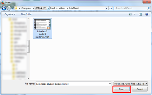 A file open box. A file is selected. The open button is highlighted