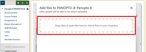 A box saying drag video or audio file here is highlighted