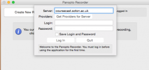 Panopto recorder for mac. Server coursecast.soton.ac.uk. All other text boxes are greyed out.