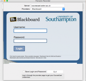 OSX Panopto recorder. Provider is set to Blackboard and the blackboard.soton.ac.uk login box is in the middle of the app.