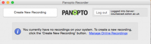 Panopto recorder for mac. Two buttons, create new recording and log out.