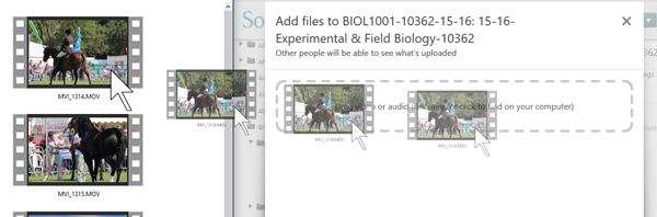 On the left is a video clip, on the right a panopto upload area shown with a dotted box. A file is being dragged from the explorer window to Panopto