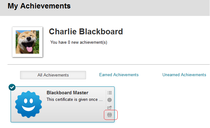 badges certificates and achievements in blackboard elearning