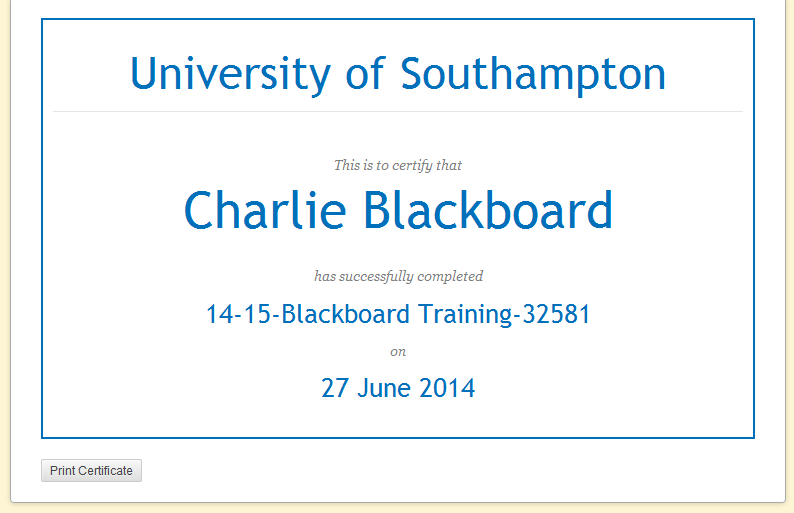 print a certificate of achievement  Badges, Certificates and Achievements in Blackboard – eLearning ...