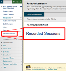 The Blackboard course annoucements page. The page has no content. Recorded sessions is highlighted in the left hand menu