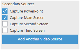 Secondary capture sources. Capture powerpoint ticked, capture primary screen ticked, capture screen 2 not ticked
