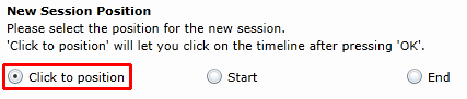 New session position: Click to position is highlighted