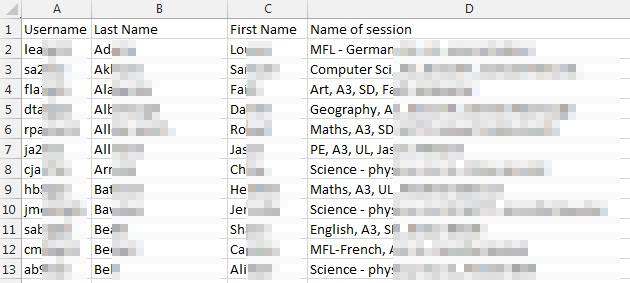 Excel file with username, last name, first name and name of session. Most of the data in the table is blurred out