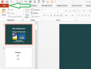PowerPoint 2013 with the file menu icon highlighted with a green arrow