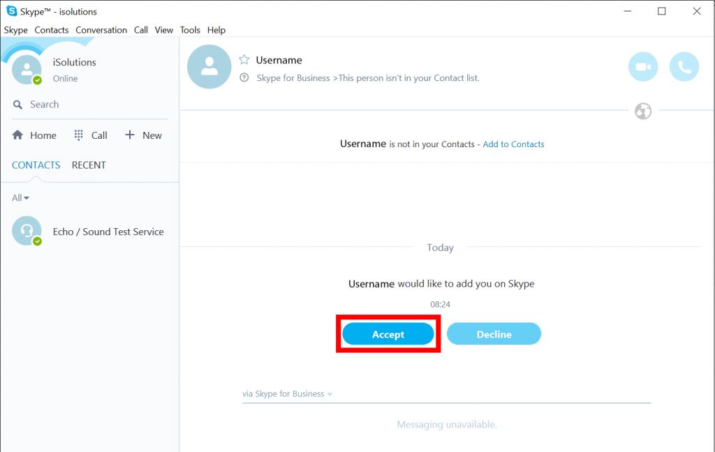 Skype external user accept