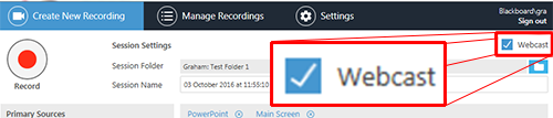 The Panopto recorder. In the top right corner a checkbox named webcast is ticked