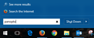 Start menu, search field says Panopto. Next to shutdown button