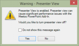 Turn off presenter view prompt
