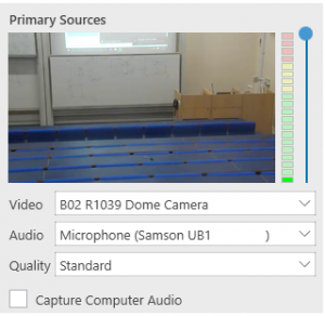 Picture of lecture theatre. Video: Dome Camera. Audio: Microphone Samson UB1. Quality: Standard.