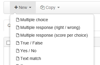 New: multiple choice, True False, Text match