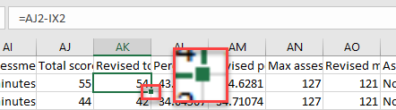 Excel with cell corner highlighted