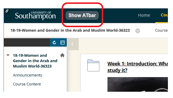 Screenshot shows the position of the ATbar button. You can use SHIFT+TAB when arriving at a Blackboard page to tab select the button, then press Enter to open it.