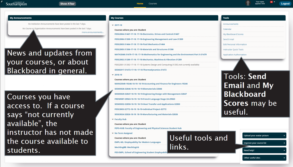 Screenshot that shows a typical Blackboard home screen for students