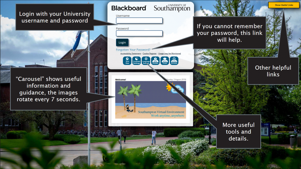 The login page for Blackboard