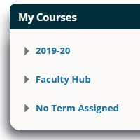 Image showing a course list organised by academic year in Blackboard