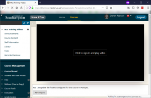 """Blackboard. Majority of screen is black with small """"Click to sign in and play video"""" in the centre of the black."""