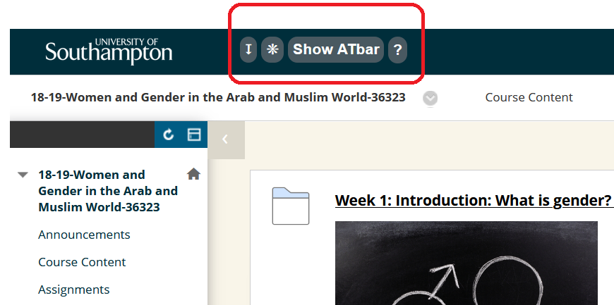 Location of the ATbar in Blackboard