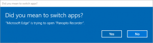 Did you mean to switch apps, yes, no