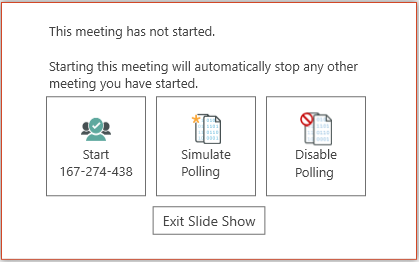 Vevox options when opening PowerPoint slide show