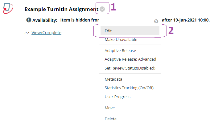 Editing Turnitin assignment options