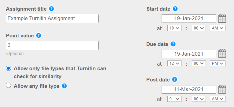 Turnitin start and end times