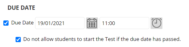 Due date in a Blackboard test