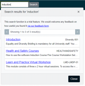 Sample search box and results on Blackboard home page