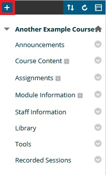 Blackboard control panel tool bar with plus button highlighted
