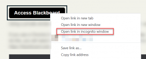 Chrome right click menu with open in incognito window highlighted