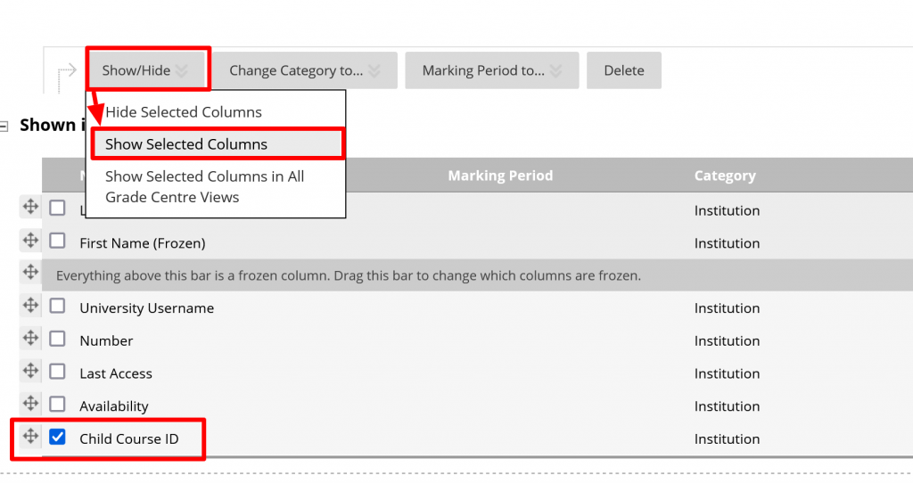 Show Selected Columns so that Child Course ID can be added and then used as a filter
