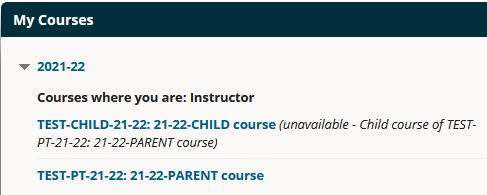 A child course appears as unavailible